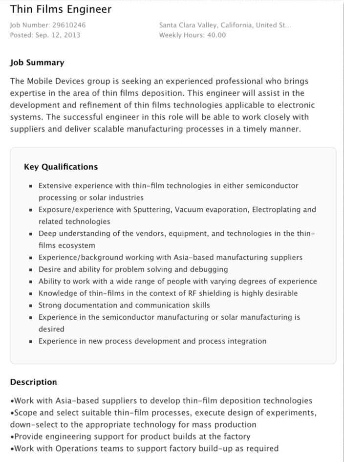 Apple thin films solar job posting