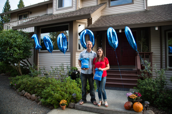 Ken and Lindsey Noren of Santa Rosa, Calif. are Sunrun's 100,000th customer.